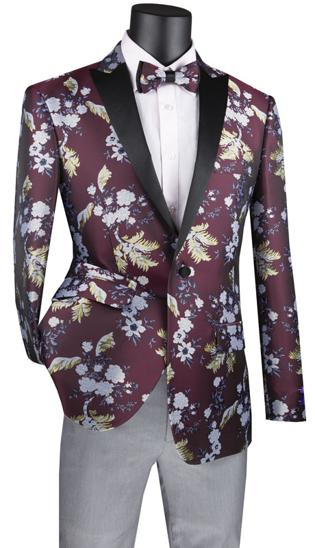 Vinci Mens Suit BSF-14-BU ( 1pc Single Breasted 1 Button Sport Coat With Side Vents And Floral Pattern )