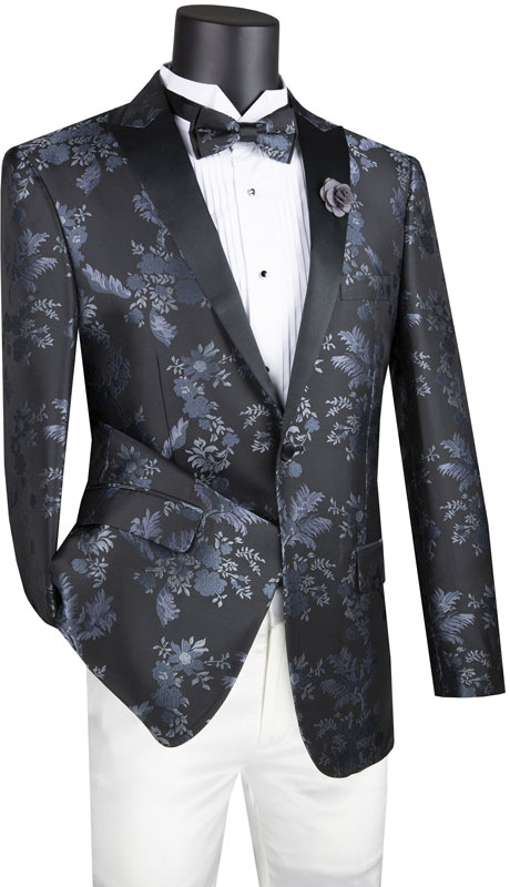 Vinci Mens Suit BSF-14-BK ( 1pc Single Breasted 1 Button Sport Coat With Side Vents And Floral Pattern )