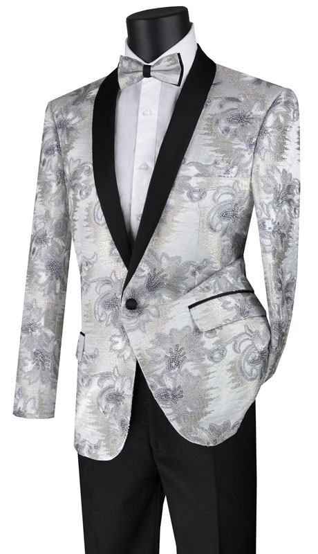 Vinci Mens Suit BSF-13-SI ( 1pc Single Breasted 1 Button Sport Coat With Side Vents And Fancy Embroidery )