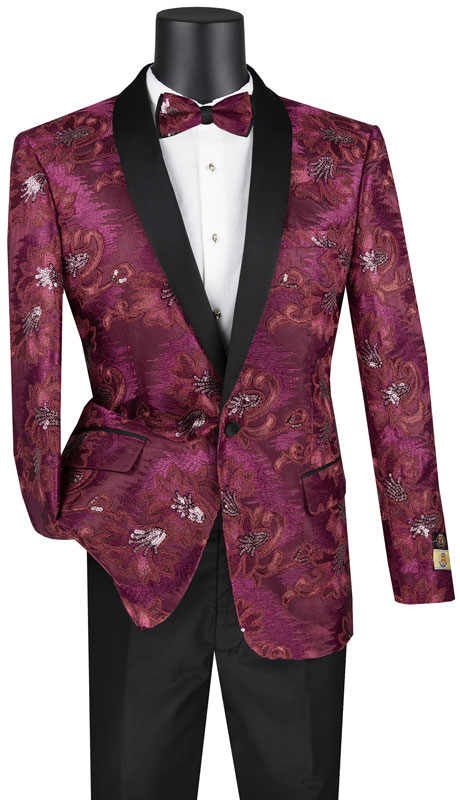 Vinci Mens Suit BSF-13-BU ( 1pc Single Breasted 1 Button Sport Coat With Side Vents And Fancy Embroidery )