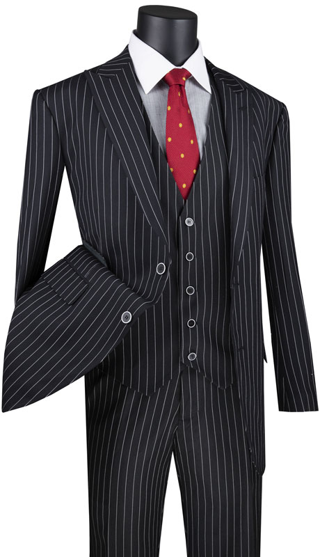 Vinci Mens Suit V2RS-9-BK ( 3pc Single Breasted 2 Button Vested Suit With Peak Lapel, Gangster Stripe, Side Vents And Flat Front Pants )