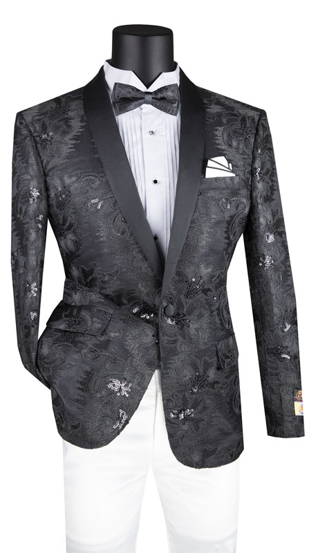 Vinci Mens Suit BSF-13-BK ( 1pc Single Breasted 1 Button Sport Coat With Side Vents And Fancy Embroidery )