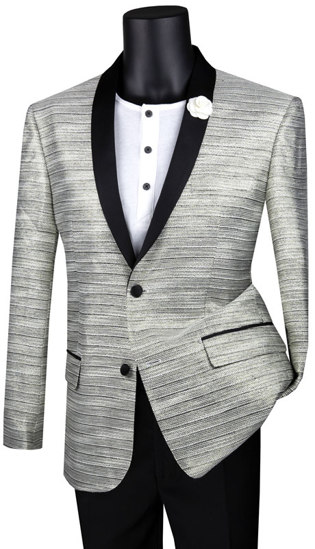 Vinci Mens Suit BSF-12-SI ( 1pc Single Breasted 2 Button Sport Coat With Side Vents And Metallic Stripe )