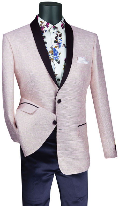Vinci Mens Suit BSF-12-PI ( 1pc Single Breasted 2 Button Sport Coat With Side Vents And Metallic Stripe )
