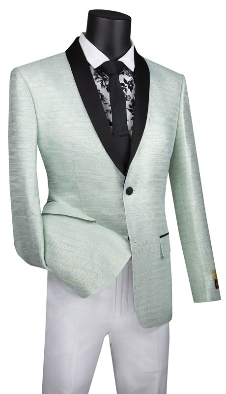 Vinci Mens Suit BSF-12-PA ( 1pc Single Breasted 2 Button Sport Coat With Side Vents And Metallic Stripe )