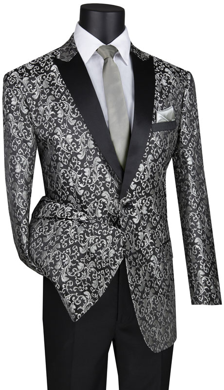 Vinci Mens Suit BF-2-SI ( 1pc Single Breasted 2 Button Shawl Lapel Fancy Pattern Sport Coat With Side Vents )