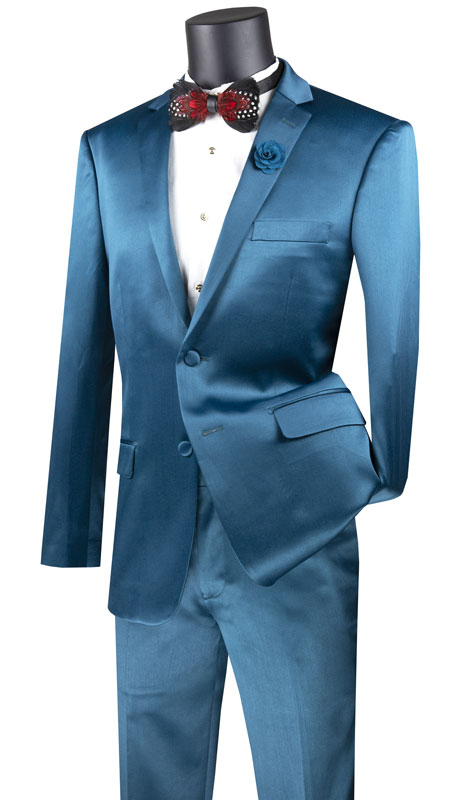 Vinci Mens Suit UST-1-TE ( 2pc Single Breasted 2 Button Suit With Side Vents And Flat Front Pants )