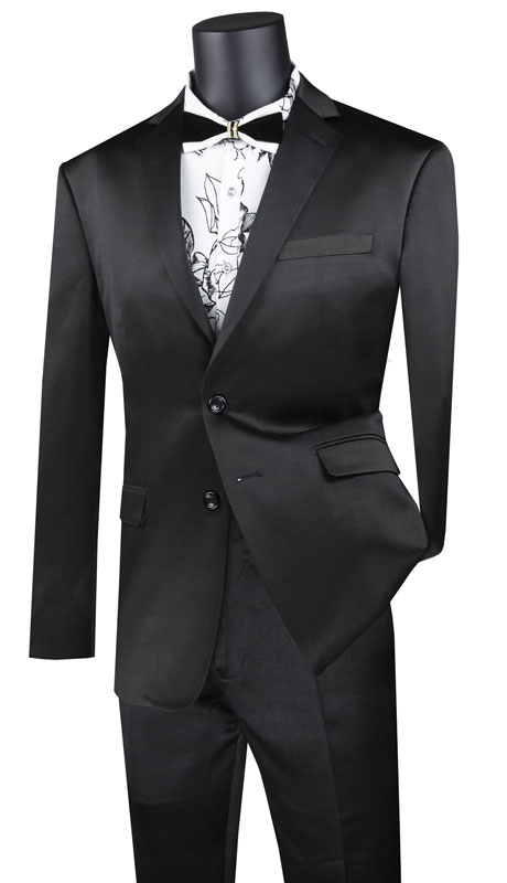 Vinci Mens Suit UST-1-BK ( 2pc Single Breasted 2 Button Suit With Side Vents And Flat Front Pants )