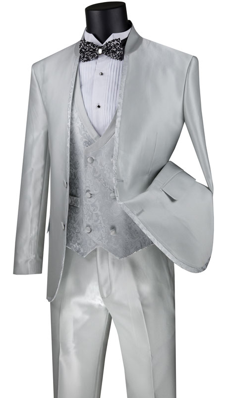 Vinci Mens Suit SV2HT2-SI ( 3pc Single Breasted 2 Button Sharkskin Suit With Trim And Paisley Vest And Flat Front Pants )