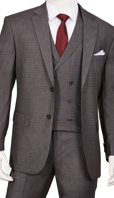 F62SQ-GR ( 3pc Suit, 2-Button Single-Breasted Jacket With Side-Vents 6 Button Double-Breasted Vest, Flat Front Pants )