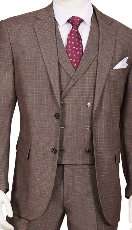 F62SQ-CE ( 3pc Suit, 2-Button Single-Breasted Jacket With Side-Vents, 6 Button Double-Breasted Vest, Flat Front Pants )