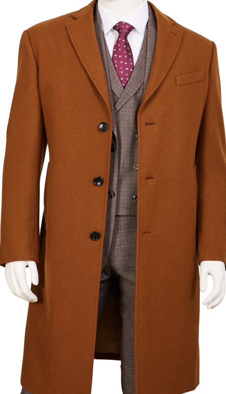 Coat91-CA ( Classic Fit Coat Single Breasted, 3 Buttons Notch Lapels Center Vent 70% Wool, 30% Poly )