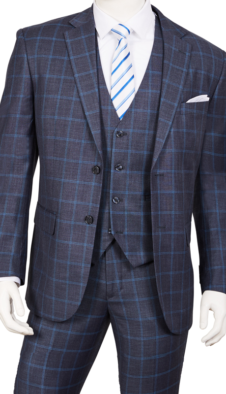 T62PD-BL ( 3pc Suit, 2-Button Single-Breasted Jacket With Side-Vents, 4 Button Vest And Flat Front Pants )