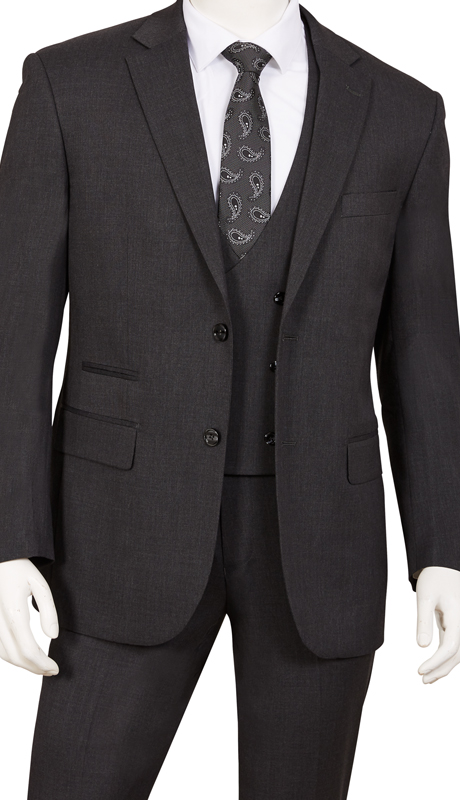 T62BR-CH ( 3pc Suit, 2-Button, Single-Breasted Jacket With Side-Vents, Double-Breasted Vest, Flat Front Pants )
