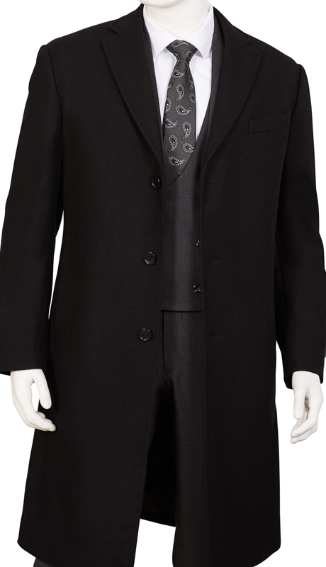 COAT91-BK ( Classic Fit Coat Single Breasted, 3 Buttons Notch Lapels Center Vent 70% Wool, 30% Poly )