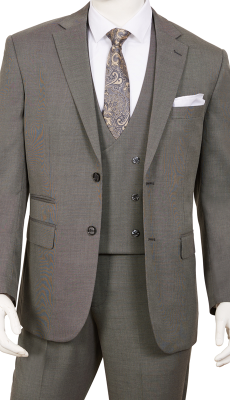 T62BR-OX ( 3pc Suit, 2-Button Single-Breasted Jacket With Side-Vents, Double-Breasted Vest And Flat Front Pants )