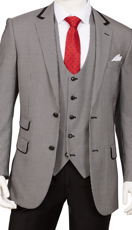 F62HV-BK ( 3pc Suit, 2-Button, Single-Breasted Jacket With Side-Vents And Vest, Flat Front Pants, Houndstooth )