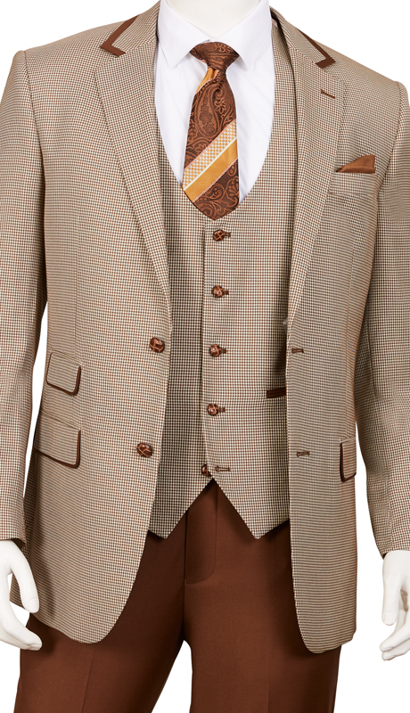 F62HV-BR ( 3pc Suit, 2-Button Single-Breasted Jacket With Side-Vents And Vest Flat Front Pants, Houndstooth )