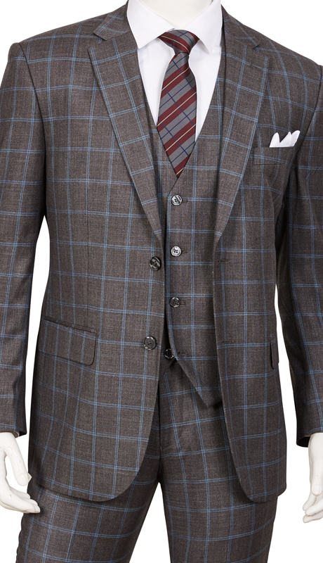 T62PD-GR ( 3pc Suit, 2-Button Single-Breasted Jacket With Side-Vents, 4 Button Vest And Flat Front Pants )