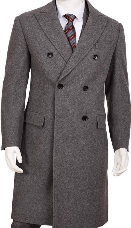 COAT92-GR ( Classic Fit Coat Double Breasted, 6 Buttons Peak Lapels Center Vent 70% Wool, 30% Poly )