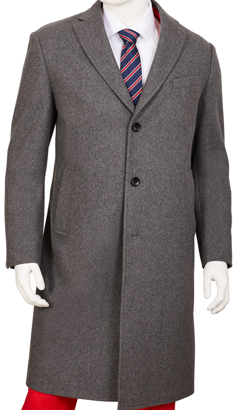COAT91-GR ( Classic Fit Coat Single Breasted, 3 Buttons Notch Lapels Center Vent 70% Wool, 30% Poly )