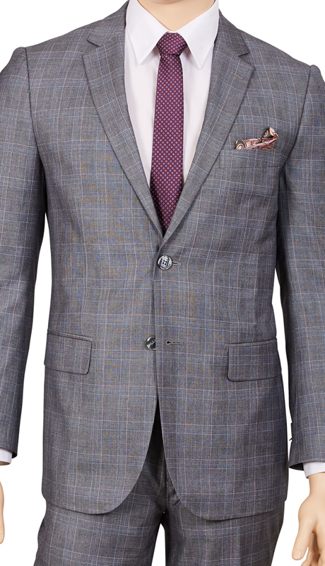 M62WP-GR ( 2pc Suit, 2-Button Single-Breasted Jacket With Side-Vents, Flat Front Pants, Glen Plaid )