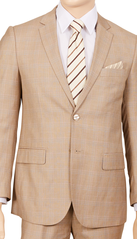 M62WP-BE ( 2pc Suit, 2-Button Single-Breasted Jacket With Side-Vents, Flat Front Pants, Glen Plaid )