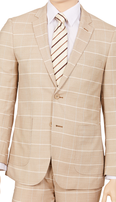 M2CB-WH ( 2pc Suit, 2-Button Single-Breasted Jacket With Patch Pockets And Side Vents, Flat Front Pants, Window Pane )