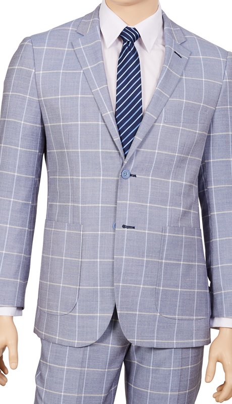 M2CB-CH ( 2pc Suit, 2-Button Single-Breasted Jacket With Patch Pockets And Side Vents, Flat Front Pants, Window Pane )