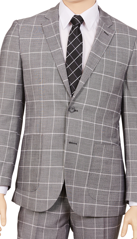 M2CB-GR ( 2pc Suit, 2-Button Single-Breasted Jacket With Patch Pockets And Side Vents, Flat Front Pants, Window Pane )
