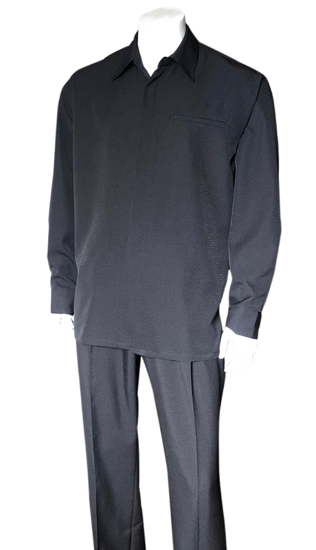 Mens Walking Suit-2763-BK ( 2pc, Solid Pant And Textured Shirt )