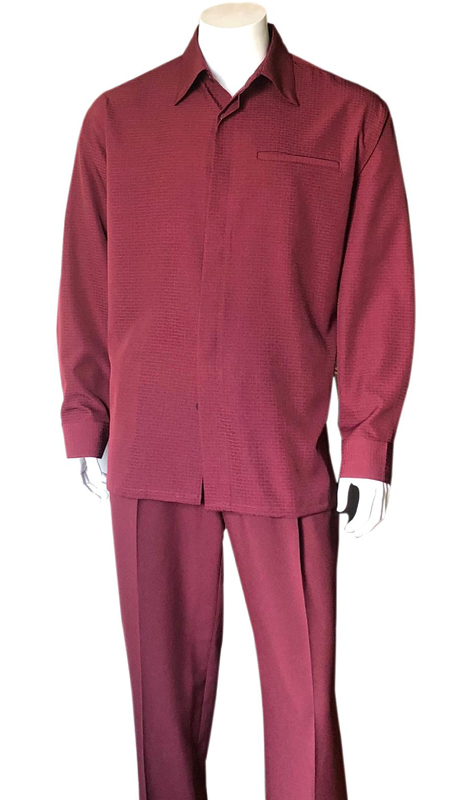 Mens Walking Suit-2763-BU ( 2pc, Solid Pant And Textured Shirt )