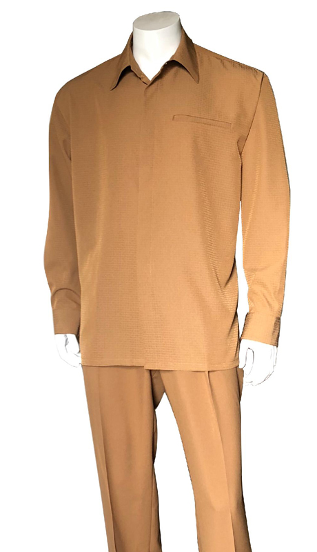 Mens Walking Suit-2763-LB ( 2pc, Solid Pant And Textured Shirt )