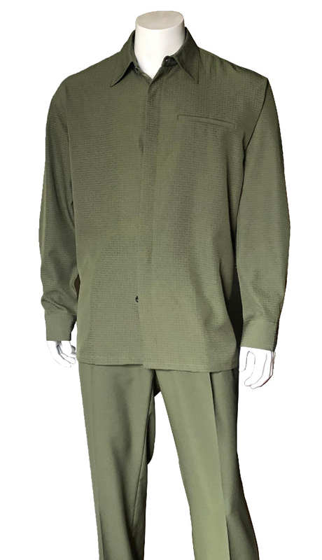Mens Walking Suit-2763-OL ( 2pc, Solid Pant And Textured Shirt )