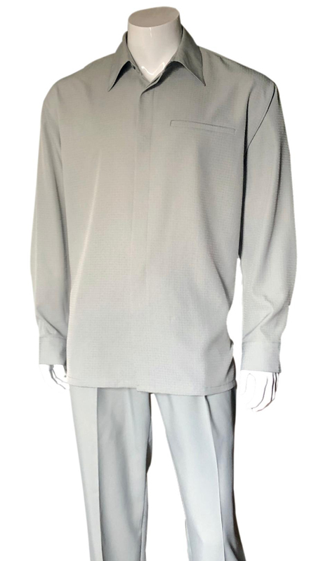 Mens Walking Suit-2763-SI ( 2pc, Solid Pant And Textured Shirt )