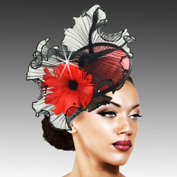 2419 Raffles-BL ( Sinimay And Horsehair Fascinator On A Headband With A Feather Bloom )