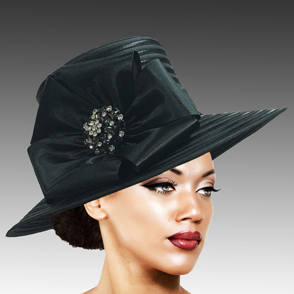 2309 Taylor-BL ( Brim Derby Hat with a Luxurious Bouquet of Flowers and Ostrich Plumes )