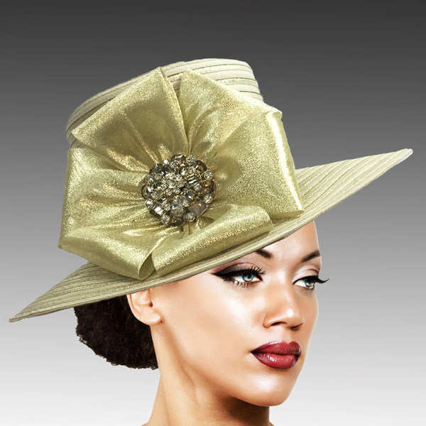 2309 Taylor-GO ( Brim Derby Hat with a Luxurious Bouquet of Flowers and Ostrich Plumes )