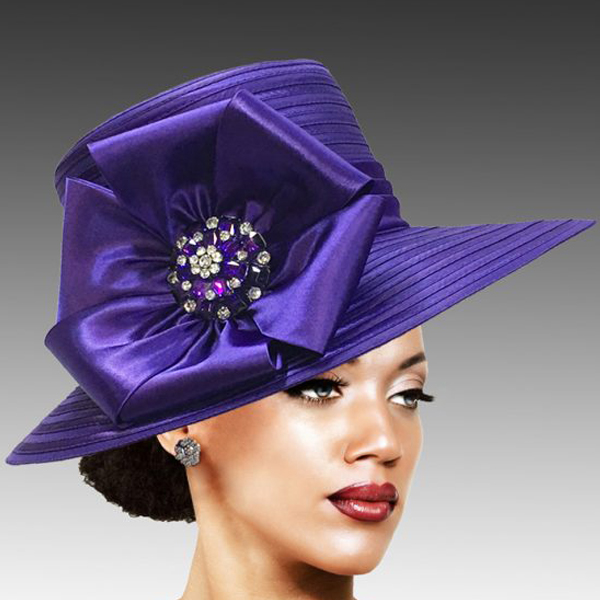 2309 Taylor-PU ( Brim Derby Hat with a Luxurious Bouquet of Flowers and Ostrich Plumes )