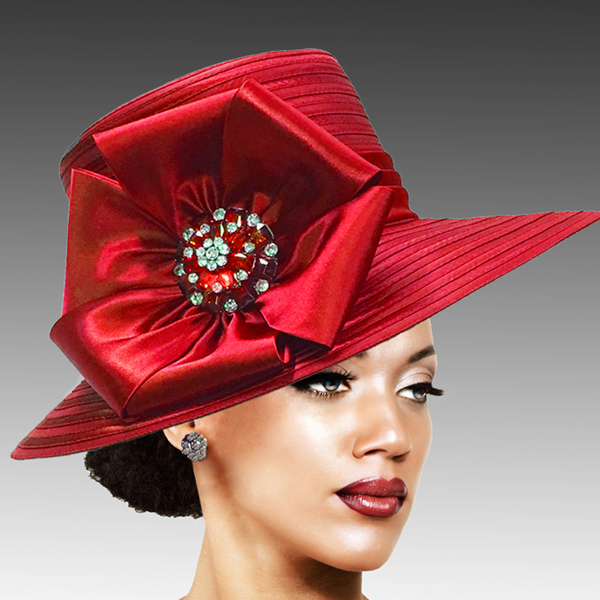 2309 Taylor-RE ( Brim Derby Hat with a Luxurious Bouquet of Flowers and Ostrich Plumes )