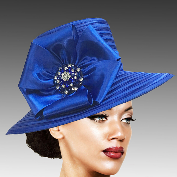 2309 Taylor-RO ( Brim Derby Hat with a Luxurious Bouquet of Flowers and Ostrich Plumes )
