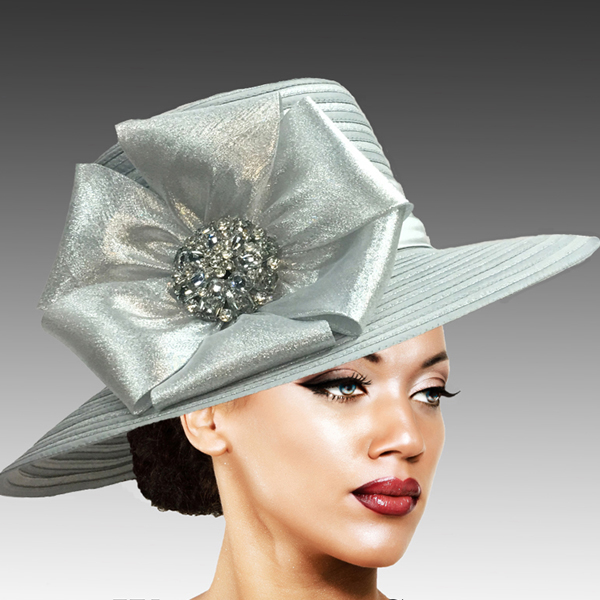 2309 Taylor-SI ( Brim Derby Hat with a Luxurious Bouquet of Flowers and Ostrich Plumes )