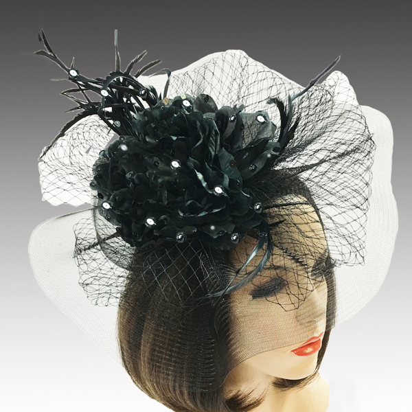 2311 Georgina-BL ( Brim Derby Hat with a Luxurious Bouquet of Flowers and Ostrich Plumes )