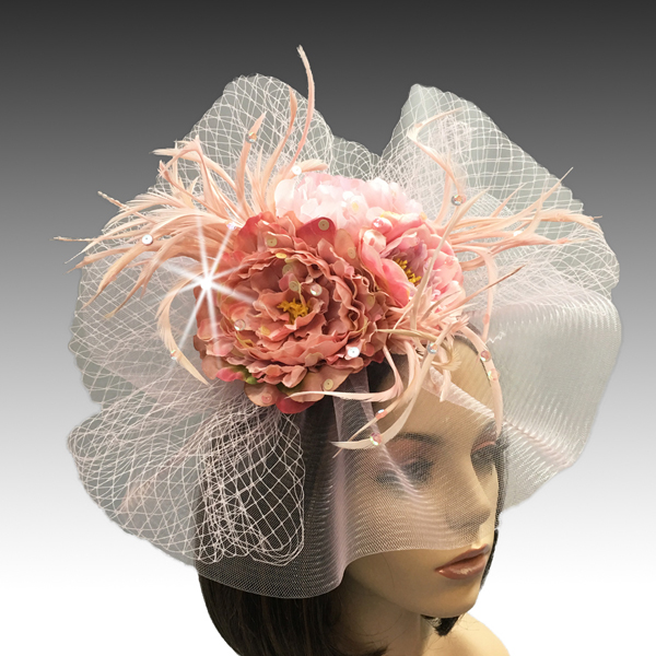 2311 Georgina-PI ( Brim Derby Hat with a Luxurious Bouquet of Flowers and Ostrich Plumes )