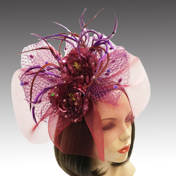 2311 Georgina-WI ( Headband Fascinator With Delicate Fall Flora And Feathers )