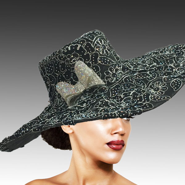 2316 Cardinal-BL ( Delicately Embroidered Lace Hat With Silver Soutache And Diamond Dust Crystal )