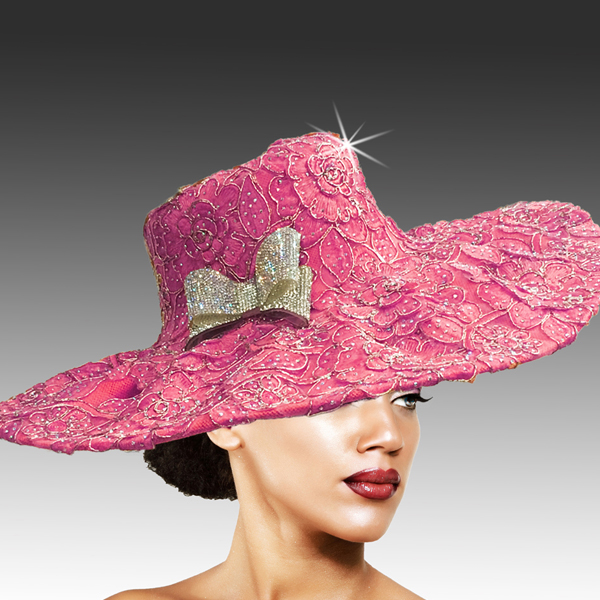 2316 Cardinal-FU ( Delicately Embroidered Lace Hat With Silver Soutache And Diamond Dust Crystal )