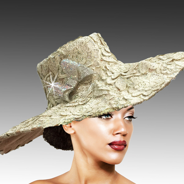 2316 Cardinal-GO ( Delicately Embroidered Lace Hat With Silver Soutache And Diamond Dust Crystal )