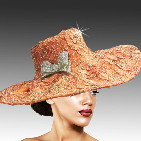 2316 Cardinal-OR ( Delicately Embroidered Lace Hat With Silver Soutache And Diamond Dust Crystal )