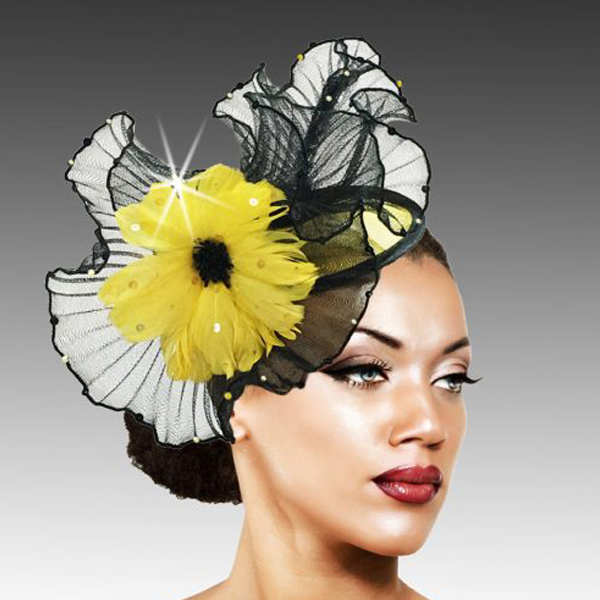 2419 Raffles-YE ( Sinimay And Horsehair Fascinator On A Headband With A Feather Bloom )